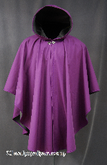 Cloak:2806, Cloak Style:Ruana Shaped Shoulder Cloak, Cloak Color:Purple / Radiant Orchid, Fiber / Weave:Ultrex, Cloak Clasp:Vale, Hood Lining:Tricot grey, Back Length:39&quot;, Neck Length:24&quot;, Seasons:Spring, Fall, Southern Winter, Note:Water resistant with a soft grey lining<br>and the pantone color of 2014!<br>A cross between a cape and a cloak,<br>a ruana is a great way to keep warm<br>while frequent, unhindered use of your arms is needed.<br>Ruanas make great driving cloaks!<br>Machine Washable Line dry..