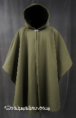 Cloak:2809, Cloak Style:Youth Ruana Shaped Shoulder Cloak, Cloak Color:Olive, Fiber / Weave:Power Shield / Polyester, Cloak Clasp:Vale, Hood Lining:Fleece, Back Length:43&quot;, Neck Length:23&quot;, Seasons:Winter, Spring, Fall, Note:Water resistant heavy duty<br>Power shield cloak in olive green.<br>Great for children and youths<br>who enjoy outdoor activities.<br>With a soft matching fleece lining<br>this cloak will keep you warm and<br>protected from most weather.<br>Machine washable tumble dry hang.<br>Note this cloak may not close on<br>adult shoulders.