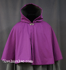 Cloak:2810, Cloak Style:Full Circle Short Cloak, Cloak Color:Purple / Radiant Orchid, Fiber / Weave:Ultrex, Cloak Clasp:Vale, Hood Lining:Tricot grey, Back Length:20&quot;, Neck Length:24&quot;, Seasons:Spring, Fall, Southern Winter, Note:Water resistant with a soft grey lining<br>and the pantone color of 2014!<br>This cloak will keep you warm and<br>protected from most weather.<br>Machine Washable Line dry..