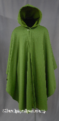 Cloak:2814, Cloak Style:Cape / Ruana, Cloak Color:Green, Fiber / Weave:Fleece lined Nylon outer face, Cloak Clasp:Plain Rope<br>Hook & Eye, Hood Lining:Fleece, Back Length:41&quot;, Neck Length:22&quot;, Seasons:Fall, Spring, Note:Fully lined Green cloak with a<br>tiny checkerboard like pattern.<br>Lightweight perfect for woodland adventures.<br>A cross between a cape and a cloak,<br>a ruana is a great way to keep warm while<br>frequent, unhindered use of your arms<br>is needed.<br>Ruanas make great driving cloaks!<br>Machine washable.