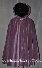 Cloak:2817, Cloak Style:Full Circle Cloak, Cloak Color:Purple, Fiber / Weave:100% Cotton Velveteen, Cloak Clasp:Vale, Hood Lining:Dark Green Velvet, Back Length:38.5&quot;, Neck Length:20&quot;, Seasons:Fall, Spring, Note:This soft velvety violet cloak<br>is a lovely touch for those<br>cool spring fall evenings.<br>Lined with a dark green velvet in the hood<br>and finished off with a silver-tone<br>hook-and-eye clasp.<br>Machine washable..
