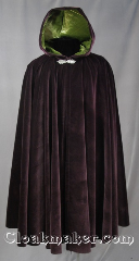 Cloak:2823, Cloak Style:Full Circle Cloak, Cloak Color:Aubergine (Eggplant) Purple, Fiber / Weave:95% Cotton 5% Lycra blend velvet, Cloak Clasp:Gothic Heart, Hood Lining:Mossy Olive Green Velvet, Back Length:43&quot;, Neck Length:21&quot;, Seasons:Fall, Spring, Note:This velvet cloak is perfect for those cool<br>fall evenings. The hood is lined with<br>a mossy olive green velvet and is<br>finished off with a with a pewter<br> Gothic heart style hook-and-eye clasp.<br>Wash gentle, Dry flat or Dry clean..