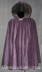 Cloak:2825, Cloak Style:Full Circle Short Cloak, Cloak Color:Lavender, Fiber / Weave:100% Cotton Velveteen, Cloak Clasp:Vale, Hood Lining:Grey Cotton Velvet, Back Length:37.5&quot;, Neck Length:20&quot;, Seasons:Spring, Fall, Note:This velveteen cloak is perfect<br>for a petite adult or child.<br>The hood is lined with light<br>grey velvet and completed with a<br>pewter hook-and-eye clasp.<br>Machine wash gentle.