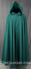 Cloak:2826, Cloak Style:Full Circle Cloak, Cloak Color:Teal Green, Fiber / Weave:Washed Wool Suiting, Cloak Clasp:Antiquity, Hood Lining:Unlined, Back Length:53&quot;, Neck Length:21&quot;, Seasons:Summer, Fall, Spring, Note:This lightweight cloak made of wool<br>suiting has a refined style for late spring,<br>early fall, those cool summer evenings<br>or indoor events. It is completed<br>with a black-toned hook-and-eye clasp.<br> Machine washable, hang to dry..