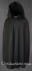 Cloak:2827, Cloak Style:Shaped Shoulder Cloak, Cloak Color:Dark Grey/Black, Fiber / Weave:100% Wool Suiting, Cloak Clasp:Alpine Knot - Silvertone, Hood Lining:Unlined, Back Length:45&quot;, Neck Length:17&quot;, Seasons:Spring, Fall, Note:This unlined cloak is perfect<br>for a  petite adult or child,<br> ideal for adding a touch<br>of elegance to a cool evening.<br>Machine washable hang to dry,<br>the outfit is finished with a silver-tone<br>pewter hook-and-eye clasp..
