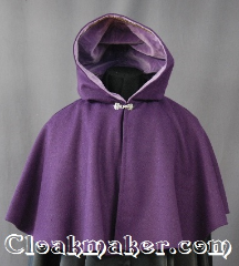 Cloak:2833, Cloak Style:Shaped Shoulder Cloak - Short, Cloak Color:Purple, Fiber / Weave:80% Wool / 20% Nylon, Cloak Clasp:Alpine Knot - Silvertone, Hood Lining:Purple Cotton Velveteen, Back Length:20&quot;, Neck Length:19.5&quot;, Seasons:Winter, Fall, Spring, Note:The perfect starter cloak for a<br>child. Bright and colorful sized for<br>play and walking.<br>Dry clean only..