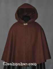 Cloak:2837, Cloak Style:Shaped Shoulder Cloak - Short, Cloak Color:Brown, Fiber / Weave:100% Wool, Cloak Clasp:Vale, Hood Lining:Unlined, Back Length:25.5&quot;, Neck Length:21&quot;, Seasons:Winter, Southern Winter, Fall, Spring, Note:The perfect starter cloak for a child or adult.<br>Sized for play and walking.<br>This cloak has extra length for warmth.<br>100% wool. Dry clean only..