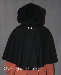 Cloak:2840, Cloak Style:Shaped Shoulder Cloak - Short, Cloak Color:Black, Fiber / Weave:80% Wool / 20% Nylon, Cloak Clasp:Alpine Knot - Silvertone, Hood Lining:Unlined, Back Length:21.5&quot;, Neck Length:21&quot;, Seasons:Winter, Southern Winter, Fall, Spring, Note:The perfect starter cloak for a child<br>or adult. Sized for play and<br>waiting for the car to warm up.<br>Dry clean only..