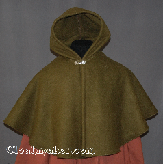 Cloak:2843, Cloak Style:Shaped Shoulder Cloak - Short, Cloak Color:Olive, Fiber / Weave:Fleece, Cloak Clasp:Alpine Knot - Silvertone, Hood Lining:Unlined, Back Length:20&quot;, Neck Length:24&quot;, Seasons:Winter, Fall, Spring, Note:The perfect starter cloak for a child or adult.<br>Sized for play and walking.<br>Machine Washable..