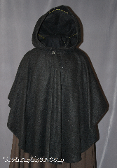 Cloak:2851, Cloak Style:Cape / Ruana, Cloak Color:Black, Fiber / Weave:Fleece, Cloak Clasp:Plain Rope<br>Hook & Eye, Hood Lining:Unlined, Back Length:34&quot;, Neck Length:23&quot;, Seasons:Spring, Fall, Note:Perfect for covering up your shoulders<br>while waiting for the car to warm up,<br>this light-weight fleece Ruana cape<br>is versatile and easy to maintain.<br>With Shortened sides for easy arm use.<br>It is machine washable and features a<br>silver tone plain rope hook and eye clasp.