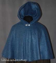 Cloak:2852, Cloak Style:Full Circle Short Cloak with Liripipe, Cloak Color:Slate Blue, Fiber / Weave:Fleece, Cloak Clasp:Alpine Knot - Silvertone, Hood Lining:Unlined, Back Length:22&quot;, Neck Length:21&quot;, Seasons:Spring, Fall, Southern Winter, Winter, Note:Perfect for covering up your shoulders<br>while waiting for the car to warm up,<br>this light-weight fleece short cloak is<br>versatile and easy to maintain.<br>It is machine washable and features a<br>silver-tone Alpine Knot clasp..