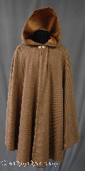 Cloak:2854, Cloak Style:Shaped Shoulder Cloak, Cloak Color:Heathered Golden Brown Twill, Fiber / Weave:100% Wool, Cloak Clasp:Vale, Hood Lining:Faux amber suede, Back Length:40&quot;, Neck Length:21&quot;, Seasons:Spring, Fall, Note:This gorgeous Striped Wool is lightweight<br>and with a hood lined in a soft faux suede.<br>Short enough to allow for daily<br>activities with unhindered arms.<br>Dry Clean Only.