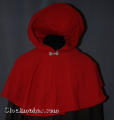 Cloak:2855, Cloak Style:Capelet, Cloak Color:Red, Fiber / Weave:Washed wool twill, Cloak Clasp:Alpine Knot - Silvertone, Hood Lining:Unlined, Back Length:19&quot;, Neck Length:19&quot;, Seasons:Summer, Fall, Spring, Note:The smaller neck makes this a good choice for a child<br>or small person.<br>Machine wash cold, line dry.