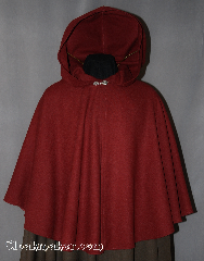 Cloak:2861, Cloak Style:Full Circle Short Cloak, Cloak Color:Maroon, Fiber / Weave:100% Wool Crepe, Cloak Clasp:Alpine Knot - Goldtone, Hood Lining:Unlined, Back Length:31&quot;, Neck Length:19&quot;, Seasons:Spring, Fall, Note:Smooth not scratchy for those<br>who love wool but want a softer fabric.<br>Accented with a gold-tone<br>Alpine Knot hook-and-eye clasp.<br>Dry Clean only..