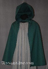 Cloak:2864, Cloak Style:True Half Circle Hobbit Style<br>Cloak with Liripipe, Cloak Color:Green, Fiber / Weave:100% Wool, Cloak Clasp:Snap Button, Hood Lining:Unlined, Back Length:32&quot;, Neck Length:17&quot;, Seasons:Spring, Fall, Note:Going on an adventure?<br>This lightweight cloak allows for<br> running and hiking with an open<br>front to display armor or garments.<br>Perfect for a kid sized ranger or<br> child&#039;s hobbit cloak.<br>Shown with Robe R275.<br>Dry clean only..