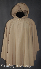 Cloak:2868, Cloak Style:Ruana Pullover Cloak, Cloak Color:Khaki, Fiber / Weave:Supplex Nylon, Cloak Clasp:Alpine Knot - Goldtone, Hood Lining:Unlined, Back Length:33.5&quot;, Neck Length:23.5&quot;, Seasons:Spring, Fall, Note:This light weight water proof poncho,<br>with its keyhole neck and goldtone<br>Alpine hook and eye clasp,<br>is ideal for a rainy fall evening.<br>Machine washable..