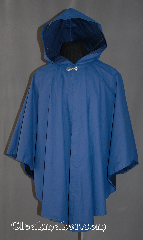 Cloak:2869, Cloak Style:Cape / Ruana, Cloak Color:Navy Blue, Cloak Clasp:Alpine Knot - Silvertone, Hood Lining:Self-lining, Back Length:38&quot;, Neck Length:22&quot;, Seasons:Spring, Fall, Note:This cloak provides elegant and rugged<br>water proof rain wear, perfect for<br>woodland hiking. It is a light weight<br>Ruana cloak with shortened sides<br>for ease of use, and<br>silver-tone Alpine hook and eye clasp.<br>Spot clean, line dry..