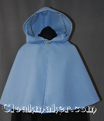 Cloak:2875, Cloak Style:Shaped Shoulder Cloak - Short, Cloak Color:Light Blue, Fiber / Weave:80% Wool/20% Nylon, Cloak Clasp:Alpine Knot - Silvertone, Hood Lining:Fleece lined, Back Length:22&quot;, Neck Length:17.5&quot;, Seasons:Fall, Spring, Note:A beautiful light blue Shaped<br>shoulder Raincloak with some<br>weight for protection from wind.<br>Completely lined with a light<br>fleece for warmth.<br>With a silver tone Alpine Knot<br>hook and eye clasp.<br>Sized for a child or young adult..