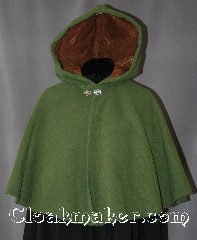 Cloak:2882, Cloak Style:Full Circle Short Cloak, Cloak Color:Meadow Green, Fiber / Weave:Wool Cashmere Blend, Cloak Clasp:Antiquity, Hood Lining:Brown Velvet with leaf pattern, Back Length:20&quot;, Neck Length:19.25&quot;, Seasons:Winter, Fall, Spring, Note:Get complements everywhere you go<br>in this meadow green cashmere<br>full circle short cloak.<br>Soft and warm for winter,<br>this cloak is lined with a medium<br>brown velvet with leaf pattern.<br>Dry Clean Only..