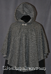 Cloak:2883, Cloak Style:Cape / Ruana, Cloak Color:Black and White, Fiber / Weave:80% Wool/20% Nylon, Cloak Clasp:Alpine Knot - Silvertone, Hood Lining:Unlined, Back Length:26&quot;, Neck Length:19&quot;, Seasons:Fall, Spring, Note:This elegant light weight Ruana cloak<br>is perfect for the person on the go.<br> It has shortened sides for less<br>restricted arm movements and<br>everyday activities.<br>Dry Clean Only..