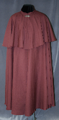 Cloak:2887, Cloak Style:Full Circle Cloak<br>Victorian Mantle, Cloak Color:Maroon, Fiber / Weave:100% Wool, Cloak Clasp:Vale, Hood Lining:N/A, Back Length:55&quot;, Neck Length:21&quot;, Seasons:Fall, Spring, Note:This Victorian full circle cloak<br>is designed with a 19.5&quot; mantle and<br>collar instead of a hood<br>to allow for a top hat. This<br>lightweight cloak is versatile enough<br>to be used for the fantastical<br>to everyday, as it drapes elegantly<br>over any clothing with a<br>dramatic swoosh when needed.<br>Dry clean only..