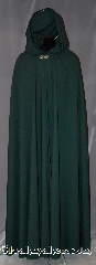 Cloak:2891, Cloak Style:Shaped Shoulder Cloak, Cloak Color:Dark Green, Fiber / Weave:100% Wool, Cloak Clasp:Vale, Hood Lining:Unlined, Back Length:60&quot;, Neck Length:23&quot;, Seasons:Spring, Fall, Note:Made of 100% lightweight wool<br>with striking drape, this cloak<br>is long enough for<br>the tallest, but can be<br> hemmed to your specific height.<br>Dry clean only..