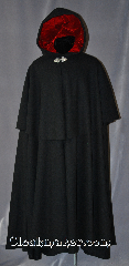 Cloak:2898, Cloak Style:Full Circle Cloak<br>Victorian Mantle, Cloak Color:Black, Fiber / Weave:80% Wool / 20% Nylon, Cloak Clasp:Triple Medallion, Hood Lining:Red Rayon Velvet, Back Length:55&quot;, Neck Length:20&quot;, Seasons:Winter, Fall, Spring, Note:Aristocratic and elegant, this heavy<br>mantled full circle cloak provides<br>protection from the cold while<br>complementing your look. With its<br>lavish red velvet lined hood<br>and elegant Triple Medallion hook and eye<br>clasp, you will be looking forward<br>to those New England winters.<br>Dry clean only..