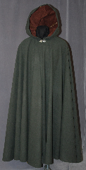 Cloak:2903, Cloak Style:Full Circle Cloak, Cloak Color:Hunter Green, Fiber / Weave:Poly Satin Moleskin, Cloak Clasp:Vale, Hood Lining:Brown Moleskin, Back Length:49.5&quot;, Neck Length:19&quot;, Seasons:Fall, Spring, Note:With a lavish feel all over, this soft<br>hunter green robe will get complements<br>everywhere you go. The cloak<br>is accented with a soft brown<br>lined hood, and silver tone<br>Vale hook and eye clasp.<br>Machine washable..