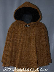 Cloak:2904, Cloak Style:Full Circle Short Cloak, Cloak Color:Russet Brown and Black, Fiber / Weave:100% wool coated basket weave, Cloak Clasp:Vale, Hood Lining:Black Velvet, Back Length:26&quot;, Neck Length:22&quot;, Seasons:Fall, Spring, Southern Winter, Note:One of a kind short full circle cloak<br>with a eye catching Russet Brown and<br>Black basket weave pattern.<br>Made of 100% wool, you will be warm<br>while having full range of movement<br>for driving and other daily activities.<br>Black accent pieces in velvet hood<br>and black enameled Vale clasp<br>add to the elegant look.<br>Dry clean only..