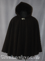 Cloak:2907, Cloak Style:Shaped Shoulder Short Cloak, Cloak Color:Dark Chocolate Brown, Fiber / Weave:100% Wool, Cloak Clasp:Vale, Hood Lining:Unlined, Back Length:33&quot;, Neck Length:23&quot;, Seasons:Fall, Spring, Southern Winter, Note:A yummy Dark chocolate Brown<br>wool cloak that will add to any wardrobe.<br>Perfect for cool evenings and mild winters.<br>Short enough to allow easy use of<br>arms for an adult or a first cloak<br>for a young adult.<br>Made of 100% wool and adorned<br>with a Silver tone Vale clasp.<br>Dry clean only..