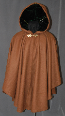 Cloak:2910, Cloak Style:Cape / Ruana, Cloak Color:Light Coffee / Terracotta Brown, Fiber / Weave:100% Wool Melton, Cloak Clasp:Oak - Simple, Hood Lining:Emerald Green Silk Velvet, Back Length:38&quot;, Neck Length:21.5&quot;, Seasons:Winter, Fall, Spring, Note:This Ruana makes a great driving cloak!<br>A cross between a cape and a cloak,<br>a Ruana is a great way to keep warm<br>when frequent, unhindered use of your<br>arms is needed. With a complementary<br>emerald green hood lining and<br>oak leaf clasp, this cloak is both<br>fashionable and practical.<br>Dry Clean Only..