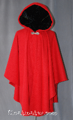 Cloak:2927, Cloak Style:Cape / Ruana, Cloak Color:Red, Fiber / Weave:80% Wool / 20% Nylon BrokenTwill Weave, Cloak Clasp:Gothic Heart, Hood Lining:Black Velvet, Back Length:40&quot;, Neck Length:21&quot;, Seasons:Fall, Spring, Southern Winter, Note:This gorgeous wool blend<br>broken twill weave cloak<br>is a fun touch for those cool<br>evenings outdoor events.<br>A cross between a cape and a cloak,<br>a ruana is a great way to keep warm<br>while frequent, unhindered use of<br>your arms is needed.<br>With a hood lined in a soft<br>black velvet accented with a<br>gothic heart hook-and-eye clasp.<br>Dry clean only.
