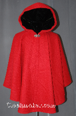 Cloak:2930, Cloak Style:Cape / Ruana, Cloak Color:Red, Fiber / Weave:80% Wool / 20% Nylon BrokenTwill Weave, Cloak Clasp:Vale, Hood Lining:Black Velvet, Back Length:32&quot;, Neck Length:22.5&quot;, Seasons:Fall, Spring, Southern Winter, Note:This gorgeous wool blend<br>broken twill weave cloak<br>is a fun touch for those cool<br>evenings outdoor events.<br>A cross between a cape and a cloak,<br>a ruana is a great way to keep warm<br>while frequent, unhindered use of<br>your arms is needed.<br>With a hood lined in a soft<br>black velvet accented with a<br>Vale hook-and-eye clasp.<br>Dry clean only.