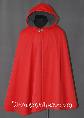 Cloak:2938, Cloak Style:Full Circle Short Cloak, Cloak Color:Red, Fiber / Weave:Power Shield / Polyester, Cloak Clasp:Vale, Hood Lining:Grey Fleece, Back Length:36&quot;, Neck Length:23&quot;, Seasons:Winter, Fall, Spring, Note:Water resistant heavy duty<br>Power Shield cloak in red.<br>Great for children and adults<br>who enjoy outdoor activities.<br>With a soft grey fleece lining<br>this cloak will keep you warm<br>and protected from most weather.<br> Machine washable tumble dry hang..