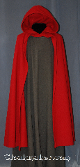 Cloak:2947, Cloak Style:Half Circle Shaped Shoulder Cloak, Cloak Color:Red, Fiber / Weave:80% Wool / 20% Nylon BrokenTwill Weave, Cloak Clasp:Hook & Eye (hidden), Hood Lining:Unlined, Back Length:51&quot;, Neck Length:20&quot;, Seasons:Fall, Spring, Southern Winter, Note:This gorgeous wool blend<br>broken twill weave cloak<br>is a fun touch for those cool<br>evenings outdoor events.<br>A cross between a cape and<br>a cloak, open in the front<br>for ease of movement<br>for unhindered use of your arms<br>while showing off your garments.<br>Dry clean only.<br>Pictured with robe R291 sold separately..