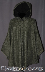 Cloak:2949, Cloak Style:Shaped Shoulder Ruana Cloak<br>(Ranger&#039;s Apprentice), Cloak Color:Green and Black Chevron, Fiber / Weave:80% Wool / 20% Nylon, Cloak Clasp:Vale (black enamel), Hood Lining:Black Cotton, Back Length:36&quot;, Neck Length:21&quot;, Seasons:Fall, Spring, Southern Winter, Note:Become invisible in the<br>dense forests of Araluen.<br>With this mid length green and<br>black chevron ruana cloak.<br>The pride of any Ranger&#039;s Apprentice.<br>Short enough for scouting and hiking<br>but long enough to hide from enemies.<br>Dry clean only.