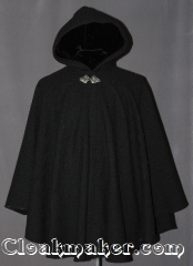 Cloak:2950, Cloak Style:Cape / Ruana, Cloak Color:Black Woven, Fiber / Weave:80% Wool / 20% Nylon, Cloak Clasp:Triple Medallion, Hood Lining:Black Velvet, Back Length:33&quot;, Neck Length:20&quot;, Seasons:Fall, Spring, Southern Winter, Note:A cross between a cape and a cloak,<br>a ruana is a great way to keep warm<br>while frequent, unhindered use<br>of your arms is needed.<br>Ruanas make great driving cloaks!<br>This gorgeous woven wool blend<br>accented with a triple medallion<br>hook and eye clasp.<br>Dry Clean Only.