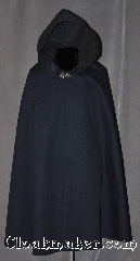 Cloak:2954, Cloak Style:Shaped Shoulder Cloak - Raincoat, Cloak Color:Navy Blue, Fiber / Weave:100% Cotton, Cloak Clasp:Vale, Hood Lining:Unlined, Back Length:43&quot;, Neck Length:23&quot;, Seasons:Fall, Spring, Note:This navy twill shape shoulder<br>raincoat will provide fashionable<br>protection from April showers<br>Accented with silver valehook-and-eye clasp<br>and can be hemmed to height.<br>Machine washable.<br>On Sale because there is a<br>slight discoloration along back seam..