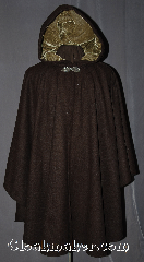 Cloak:2964, Cloak Style:Cape / Ruana, Cloak Color:Brown, Fiber / Weave:80% Wool / 20% Nylon, Cloak Clasp:Gothic Heart, Hood Lining:Olive Green Cotton Velvet, Back Length:39.5&quot;, Neck Length:22&quot;, Seasons:Fall, Spring, Note:This rustic brown ruana cloak has an<br>olive green velvet lining.<br>Made of mid-weight with shortened sides<br>allowing for a a wide range of movement.<br>Perfect for driving on cool days.<br>Accented with a Silver tone gothic heart<br>hook-and-eye clasp.<br>Dry Clean only..