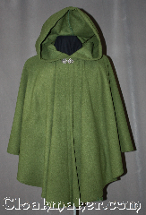 Cloak:2968, Cloak Style:Cape / Ruana, Cloak Color:Meadow Green, Fiber / Weave:100% Wool, Cloak Clasp:Vale, Hood Lining:Unlined, Back Length:34&quot;, Neck Length:23&quot;, Seasons:Fall, Spring, Southern Winter, Winter, Note:This gorgeous 100% wool<br>meadow green ruana is perfect<br>for driving to those cool evenings<br>outdoor events.<br>A cross between a cape and a cloak,<br>a ruana is a great way to keep warm<br>while frequent, unhindered use of<br>your arms is needed.<br>The sides reach with an overarm of 24&quot;<br>and accented with a vale hook-and-eye clasp.<br>Dry clean only..