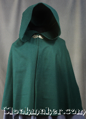 Cloak:2970, Cloak Style:Shaped Shoulder Cloak - Short, Cloak Color:Hunter / Dartmouth Green, Fiber / Weave:100% Wool, Cloak Clasp:Gothic Heart, Hood Lining:Unlined, Back Length:26&quot;, Neck Length:17.5&quot;, Seasons:Fall, Spring, Note:The perfect starter cloak for a child<br>or young adult.<br>Made of 100% lightweight wool<br>in a classic hunter/ Dartmouth green.<br>Tailored shoulders for a secure fit<br>and accented with a<br>gothic heart hook and eye clasp.<br>Sized for play and walking.<br>Dry clean only.