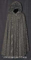 Cloak:2980, Cloak Style:Full Circle Cloak, Cloak Color:Grey and Black Chevron, Fiber / Weave:Wool Silk blend, Cloak Clasp:Scottish Thistle - Silvertone, Hood Lining:Unlined, Back Length:49&quot;, Neck Length:21.5&quot;, Seasons:Winter, Fall, Spring, Note:Dense and warm for the coldest nights.<br>This grey and black chevron<br>ull circle cloak is made of a<br>wool silk blend and will stop<br>people in their tracks.<br>One of a kind and machine<br>washable with a silvertone<br>plated hook and eye thistle clasp..
