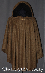 Cloak:2991, Cloak Style:Cape / Ruana, Cloak Color:Tan and black weave, Fiber / Weave:100% Wool, Cloak Clasp:Victorian Flourish Extra Large, Hood Lining:Black Cotton Moleskin, Back Length:37&quot;, Neck Length:24&quot;, Seasons:Fall, Spring, Southern Winter, Winter, Note:This gorgeous one of a kind<br>100% wool black and tan<br>chevron stripe ruana is perfect<br>for driving to those cool<br>evenings outdoor events.<br>A cross between a cape and a cloak,<br>a ruana is a great way to keep warm<br>while frequent, unhindered use<br>of your arms is needed.<br>The sides reach with an overarm of 26&quot;<br>and it is accented with an<br>extra large Victorian Flourish<br>hook-and-eye clasp.<br>Dry clean only..