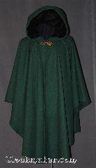 Cloak:3003, Cloak Style:Cape / Ruana, Cloak Color:Dusty Green, Fiber / Weave:80% Wool / 20% Nylon, Cloak Clasp:Shadbury Leaf, Hood Lining:Black Moleskin Leaf Pattern, Back Length:43&quot;, Neck Length:23.5&quot;, Seasons:Fall, Spring, Southern Winter, Winter, Note:Made of a dusty green wool melton coating<br>this gorgeous ruana cloak lined<br>with black moleskin leaf pattern.<br>A cross between a cape and a cloak,<br>a ruana is a great way to keep warm<br>while frequent, unhindered use of<br>your arms is needed.<br>The sides reach with an overarm of 28&quot;<br>and is adorned with a Shadbury Leaf<br>hook-and-eye clasp.<br>Dry clean only..