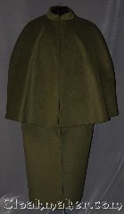 Cloak:3017, Cloak Style:Mantle Coachman / Highwayman / Statesman, Cloak Color:Mossy Green, Fiber / Weave:100% Polyester<br>Suede outer finish, brushed inner surface, Cloak Clasp:Plain Rope<br>Hook & Eye, Hood Lining:Collared, Back Length:52&quot;, Neck Length:20&quot;, Seasons:Winter, Southern Winter, Fall, Note:Soft and velvety outside and<br>ideal for a cold evenings.<br>This warm mossy green<br>highwayman with a 27&quot; mantle<br>is self lined in brown fleece<br>with a silver tone plain rope<br>hook and eye clasp.<br>With inner pockets and arm holes<br>you will have unhindered use of<br>your arms while staying warm<br>Machine washable.