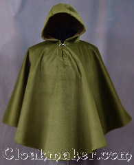 Cloak:3024, Cloak Style:Ruana Pullover Cloak, Cloak Color:Mossy Green, Fiber / Weave:100% Polyester<br>Suede outer finish, brushed inner surface, Cloak Clasp:Plain Rope<br>Hook & Eye, Hood Lining:Self-lined Brown, Back Length:31&quot;, Neck Length:19&quot;, Seasons:Winter, Southern Winter, Fall, Note:Soft and velvety outside and<br>ideal for a cold evenings.<br>This warm mossy green poncho<br>is self lined in brown fleece<br>with a keyhole neck<br>and silver tone plain rope<br>hook and eye clasp.<br>Machine washable.