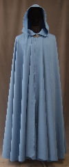 Cloak:3032, Cloak Style:Full Circle Cloak, Cloak Color:Light Blue, Fiber / Weave:80% Wool / 20% Gabardine, Cloak Clasp:Vale, Hood Lining:Unlined, Back Length:54&quot;, Neck Length:20.5&quot;, Seasons:Fall, Spring, Note:This light blue wool gabardine<br>full circle cloak is lightweight<br>and has a dramatic swoosh/drape<br>perfect for cool evenings.<br>Accented with a silvertone Vale<br>hook-and-eye clasp,<br>Dry Clean only..