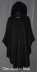 Cloak:3033, Cloak Style:Ruana, Cloak Color:Black, Fiber / Weave:80% Wool / 20% Nylon, Cloak Clasp:Gothic Heart, Hood Lining:Purple Velvet, Back Length:48&quot;, Neck Length:19&quot;, Seasons:Fall, Southern Winter, Winter, Note:This black ruana cloak with a<br>royal purple velvet lining.<br>Made of mid-weight with shortened<br>sides allowing for a a wide range<br>of movement.<br>Perfect for driving on cold days.<br>Accented with a Silver tone<br>Gothic heart hook-and-eye clasp.<br>Dry Clean only..