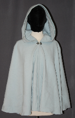 Cloak:3037, Cloak Style:Full Circle Short Cloak<br>Youth/Petite, Cloak Color:Sky Blue, Fiber / Weave:80% Wool / 20% Nylon, Cloak Clasp:Sissel Pewter, Hood Lining:Unlined, Back Length:28&quot;, Neck Length:18&quot;, Seasons:Fall, Spring, Southern Winter, Note:A soft baby blue short cloak<br>eels like fleece and is<br>perfect for any youth on chilly days,<br>Adorned with a pewter sissel<br>hook and eye clasp<br>this cloak will grow with your child<br>and last many more years than a coat.<br>Spot clean for small messes.<br>Dry clean only.