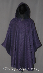 Cloak:3044, Cloak Style:Ruana, Cloak Color:Purple Black Stripe, Fiber / Weave:80% Wool / 20% Nylon, Cloak Clasp:Vale, Hood Lining:Fully lined<br> with navy wool, Back Length:41&quot;<br>27&quot; overarm, Neck Length:20&quot;, Seasons:Fall, Spring, Southern Winter, Note:A cross between a cape and a cloak,<br>a ruana is a great way to keep warm<br>while frequent, unhindered use<br>of your arms is needed.<br>This purple and black stripe wool<br> ruana is fully lined<br>with a dark navy wool with<br>matching inner pockets<br>on both sides. Perfect for<br>indoor and outdoor events<br> Accented with a silver tone vale<br>hook-and-eye clasp.<br>Dry Clean only..